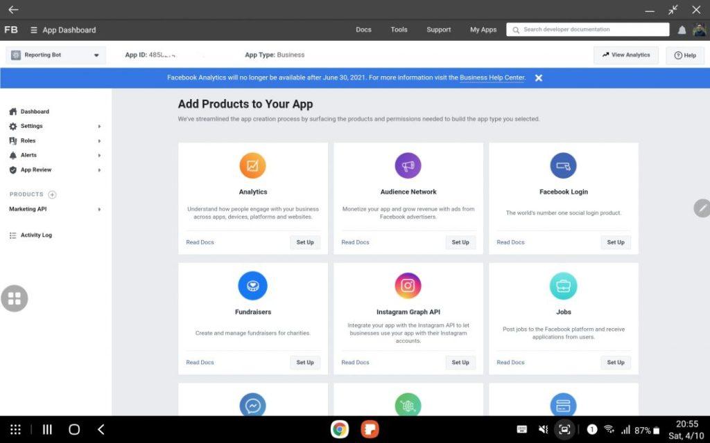 Lựa chọn Facebook Marketing API để kết nối ứng dụng từ màn hình dashboard