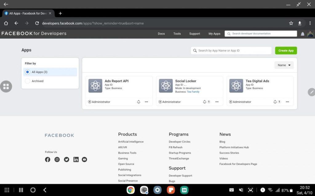 Dashboard quản lý các ứng dụng facebook tại trang web Facebook Developer