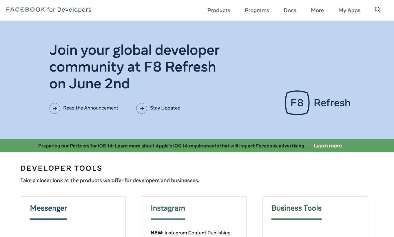 Trang chủ Facebook Developer / facebook developer homepage