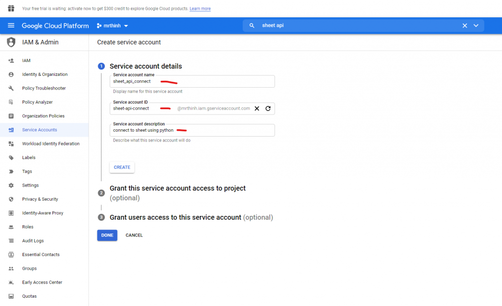 fill form service account