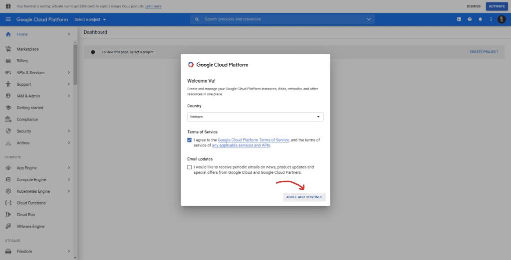Kích hoạt tài khoản Google Cloud
