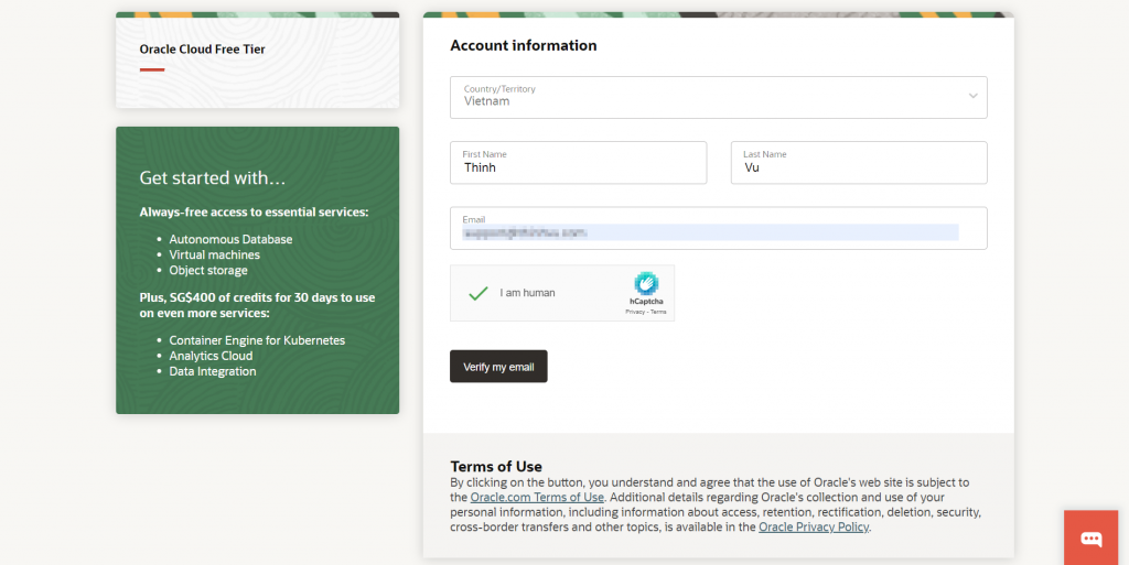 oracle account information