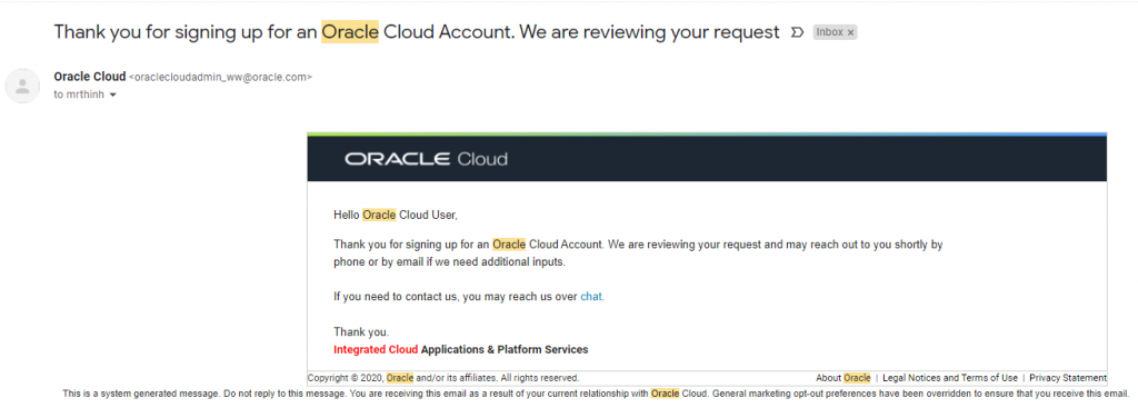 oracle cloud creation being review